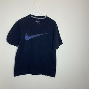 Nike Mens L Black and Blue Swoosh Logo Shirt